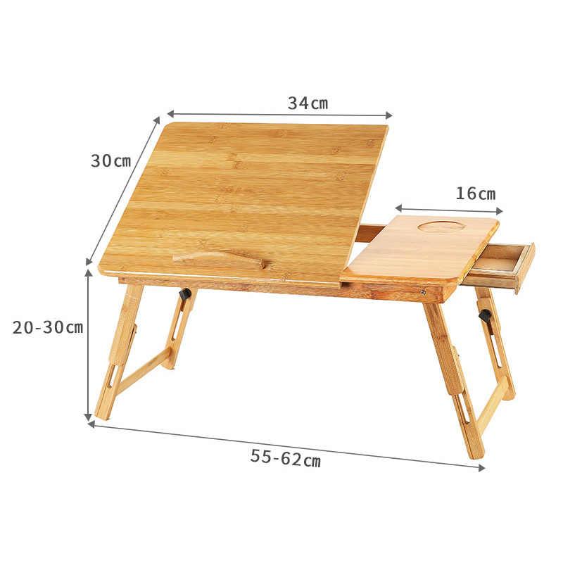 Escritorio de ordenador portátil ajustable ergonómico mesa de bambú amarillo puro plegable para servir el desayuno bandeja de cama acogedor Stock de EE. UU. Rusia