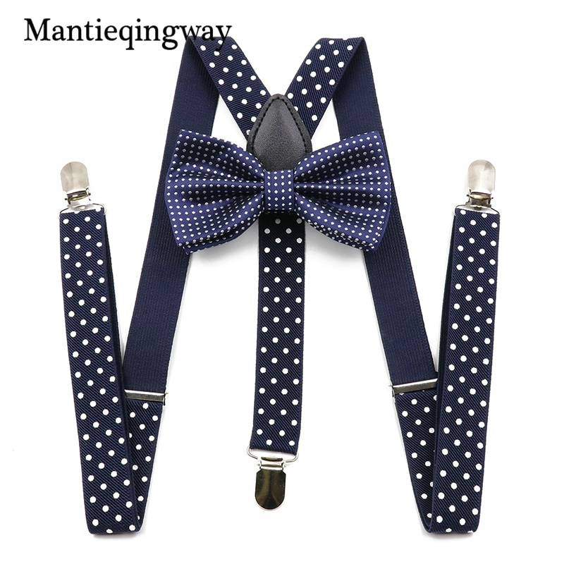 Mantieqingway Unisex Suspenders Bow Ties For Men Women Polyester Wedding Polka Dots Printed Bowtie Suspender Set Elastic Straps