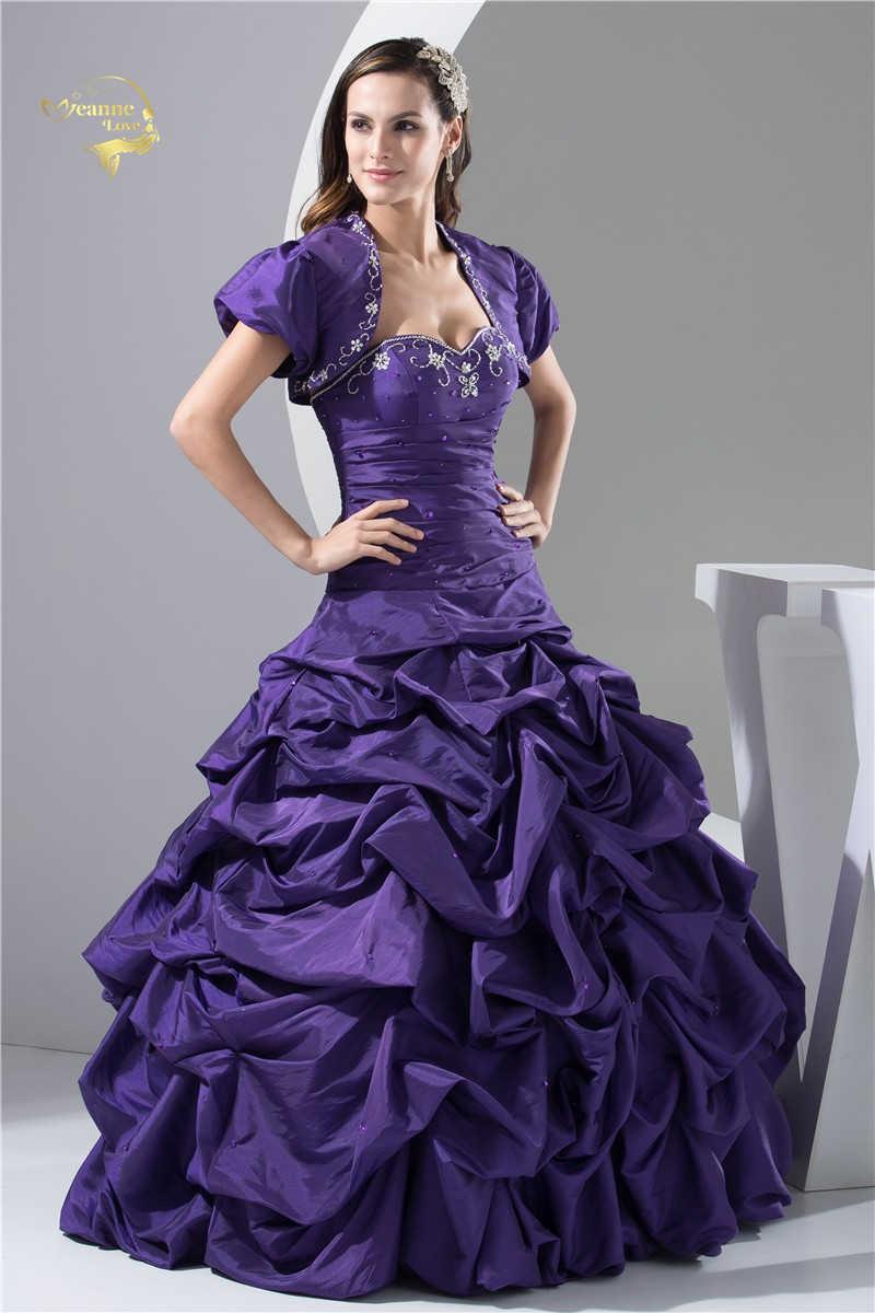 9a15e9baf2d A Line Sweetheart Ball Gown With Bolero Beading Taffeta 2019 Quinceanera  Dresses 15 Years Purple Vestidos