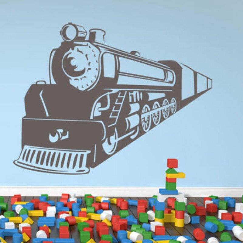 Train Ride Railway Steam Trains Wall Stickers Transport Decor Art Decals Kids room nursery wall decals Home decoration mural