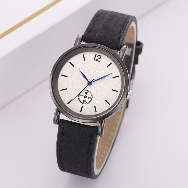 Quartz Wrist Watch with Durable PU Leather Strap Simple Style Casual Watch LL@17