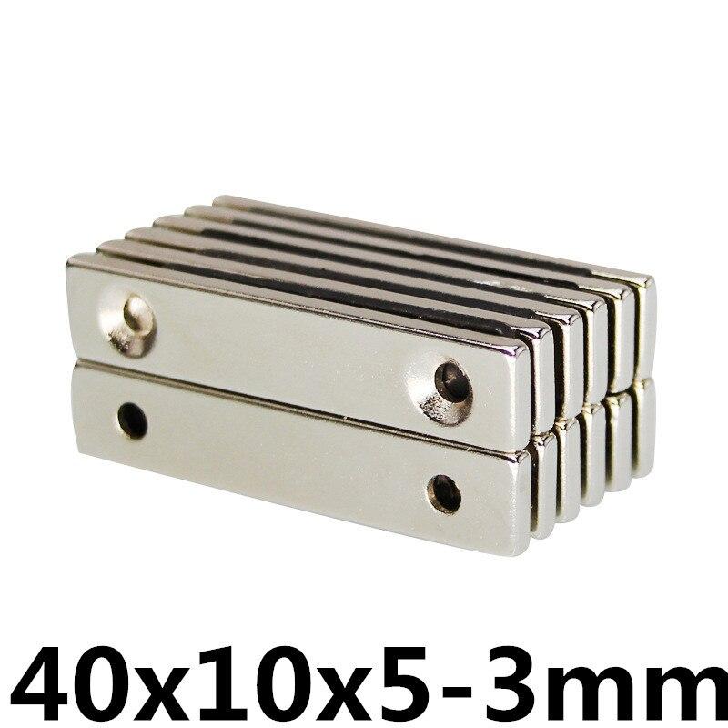 2 шт. 40x10x5 мм отверстия 3 мм N35 сильной квадратной редкоземельных магнитов NdFeB 40*10-5 мм 3 отверстия мм