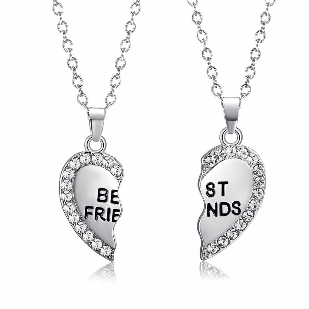 BEST Friend Unisex Mens WOMENS Heart จี้สร้อยคอเครื่องประดับสร้อยคอแฟชั่นบุคลิกภาพสร้อยคอของขวัญคุณภาพสูง z0501