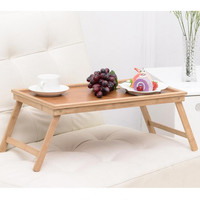 Yazi Vintage Natural Bamboo Folding Tea Coffee Table Computer PC Desk Tray Bedroom Living Room Home
