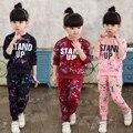 2017 primavera/outono novo conjunto de roupas meninas das crianças Coreanas impressão longo-manga da camisola com capuz + calça dois-terno hot sale