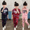 2017 spring / autumn new Korean children's clothing set girls printing long-sleeved sweater + pants two-piece suit hot sale