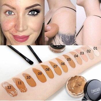 Crema facial impermeable, larga duración, Corrector líquido, cobertura completa, base, Corrector de...