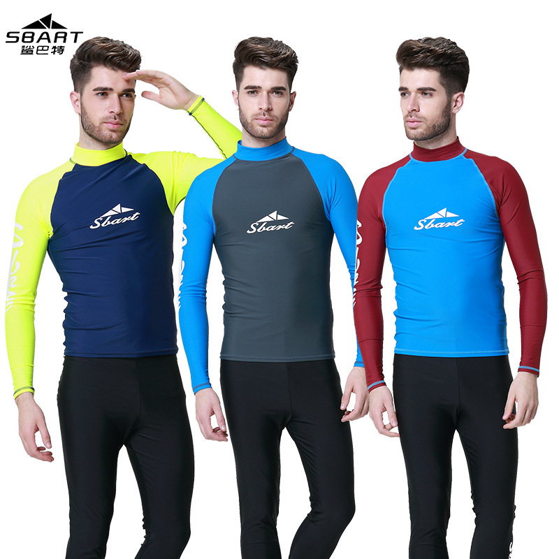 цена на SBART Men Rash Guard Surfing Swimsuit Wet Suit For Swimming Diving Surf Long Sleeve  Snorkeling sunscreen black Anti jellyfish