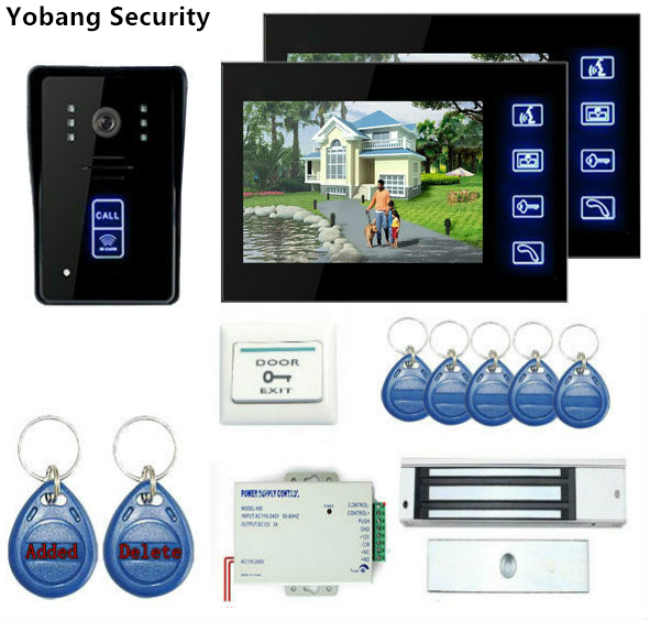 Yobang Security 7 TFT LCD Wired Video Door Phone Visual Video Intercom Speakerphone Intercom System With Waterproof Outdoor