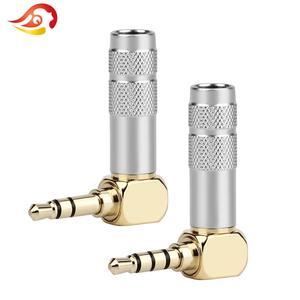 QYFANG 3,5 мм 3/4 полюса разъем для наушников аудио разъем для наушников 6,0 мм стерео позолоченный изгиб 90 градусов Серебряный разъем для припоя