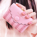 DUDINI Korean Style Wallet Bow Striped Buttons Decorative Hasp Short Section Ladies Purse PU Leather Lovely Card Holder