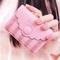 Dudini estilo coreano billetera arco cerrojo rayas botones decorativos sección corta de las señoras titular de la tarjeta monedero de cuero de la pu encantadora