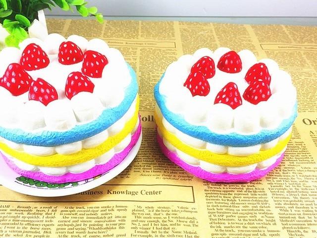 Pastel Cakes Squishy Tag : 2016 new arrival super slow rising ERIC brand jumbo round christmas rainbow cake squishy charm ...