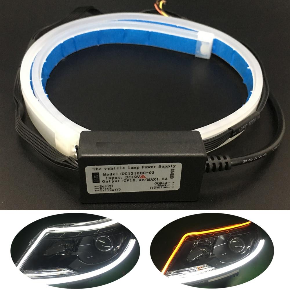 Acheter 2 pcs 60 cm LED Bande Lumière 12 V Mince Flexible DRL Phare bande Signal Tour Lampe Jaune Qui Coule Feux Diurnes Pour Audi de Voiture Assemblage Léger fiable fournisseurs