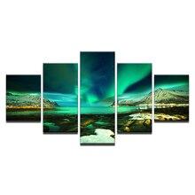 Wall Art Framework 5 Pieces Polar Region Aurora Paintings Green Lake Posters Home Decor Room