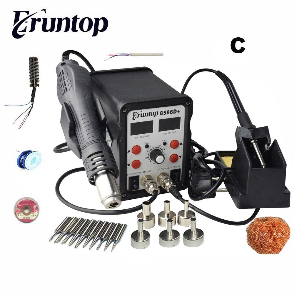Nuevo Eruntop 8586D + doble pantalla Digital soldadores eléctricos + pistola de aire caliente SMD ESTACIÓN DE refuncionamiento mejorada de 8586