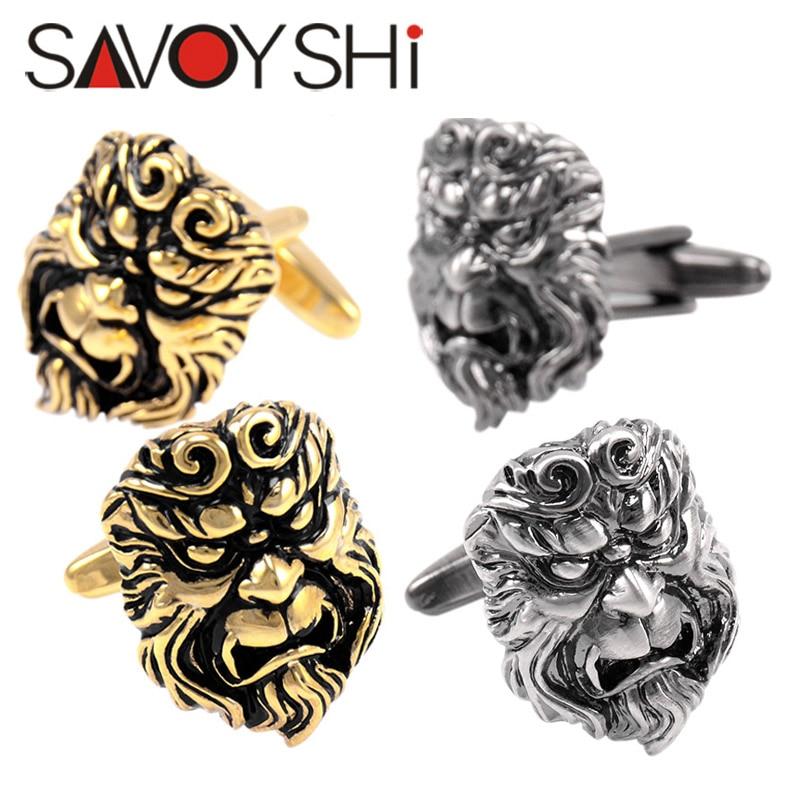 SAVOYSHI Newest Novelty Cufflinks for Mens Shirt Cuffs Funny Monkey King Head Model Cuff links Brand Fashion Male Jewelry Gift