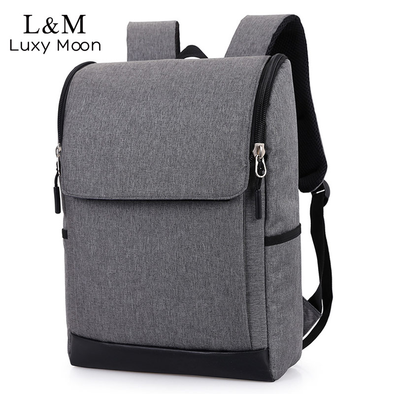 e3bee19b52 Canvas Laptop Backpack Teenage Boys Notebook Backpacks Black Gray Large  School Bags Casual Students Rucksack mochila