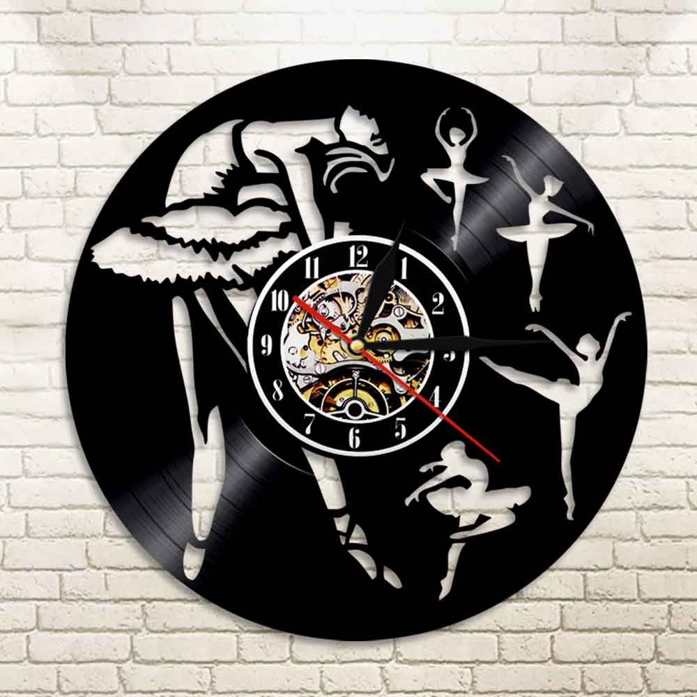 1Piece Ballet Dancing Sport Silhouette Vinyl Record Wall Clock Modern Home Decorative Clock For Girl Dancer Lover Gift
