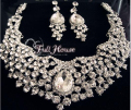 Bridal Wedding Jewelry Sets Gorgeous Large Crystal Rhinestones Statement Necklace Earrings