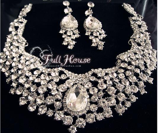 Bridal Wedding Jewelry Sets Gorgeous Large Crystal Rhinestones Statement Necklace Earrings
