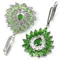Drop Big Green Emerald, White CZ SheCrown Wedding Party Created  Silver Earrings 55x28mm