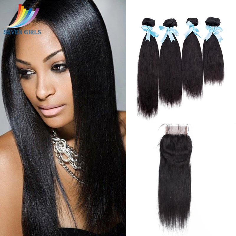 Sevengirls Peruvian Straight Hair 4 Bundles With 4*4 Closure 100% Unprocessed Virgin Hair Grade 10A Human Hair Free Shipping