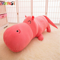 YunNasi Plush Hippo Pillow 120cm Stuffed Behemoth Squishy Toys For Children River Horse Soft Cushion Gifts Kids Toys For Girls