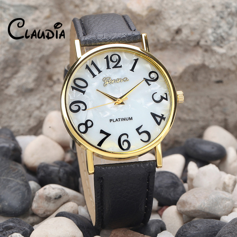 CLAUDIA Fashion New Arrival Women Retro Digital Dial Leather Band Quartz Analog Wrist Watches FreeShipping Hot Sale Reloj Mujer