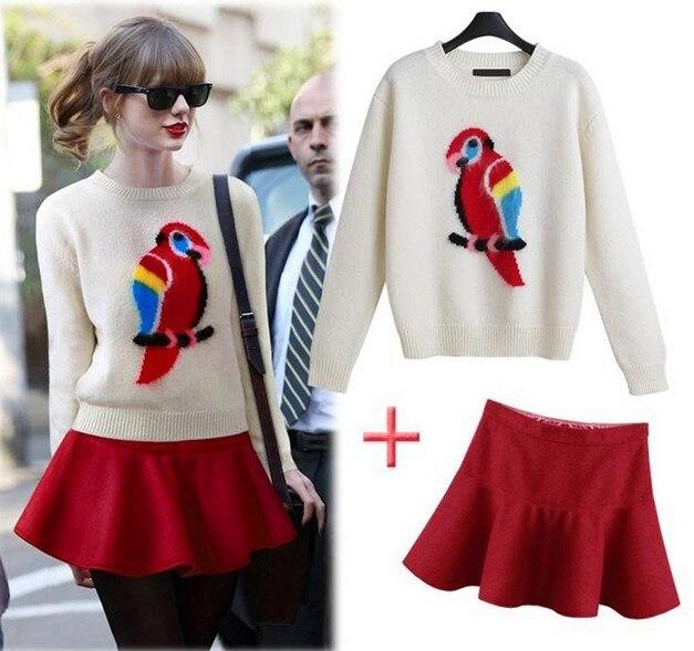 Envío Gratis 2015 nueva moda casual patrón suéter minifalda traje ...