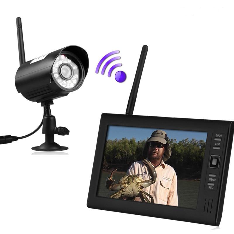 7 LCD Wireless Baby Monitor 4 Channel Quad Security DVR With 1 Cameras Home Surveillance System Memory Card Record термопот sakura sa 314wb white black