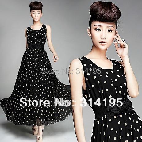 Free/Drop Shipping 2014 new arrive summer chiffon long dress Large size (S M L,XL) black white Dot o-neck tank free with belt