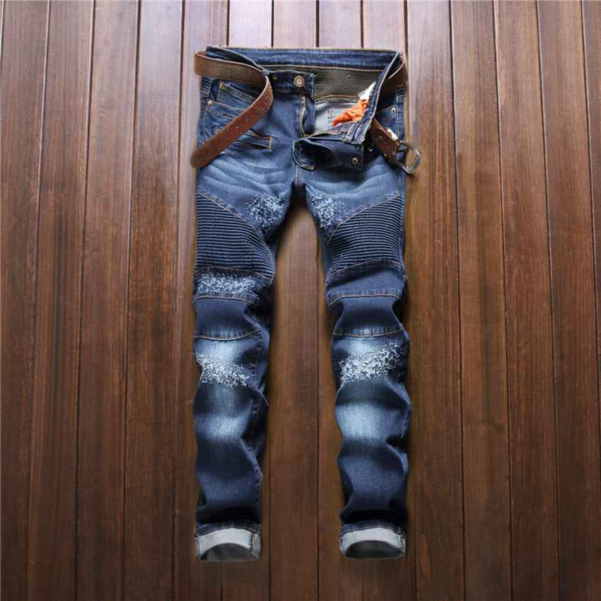 #2785 Skinny Vaqueros elasticos hombre Biker denim jeans Fashion Skinny masculina Distressed Motorcycle trousers Pantalones moto