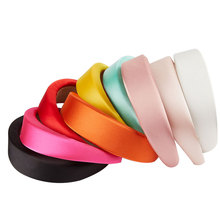 Party Gift Girls Glossy Satin Hairbands Personality Handmade Multi Colors Headbands Thick Sponge Plastic Pad Hoop Hair Headwear