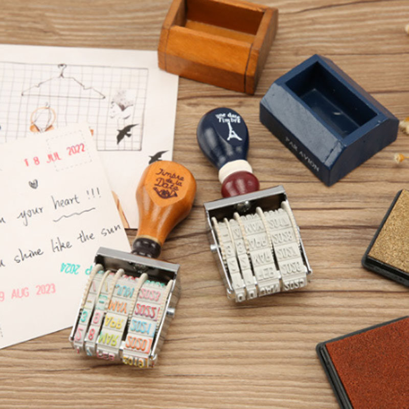 1 Pcs Novelty DIY Scrapbooking Vintage Wooden Roll Date Stamps Photo Album Stamp Rubber Ink Pad Stamp Sealing Wax Supplies 1pcs alphabet transparent silicone clear rubber stamp cling diary scrapbooking diy making photo album paper card craft decor