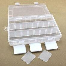 24 отсека пластиковая прозрачная коробка для хранения ювелирных изделий из бисера контейнер для рукоделия Органайзер