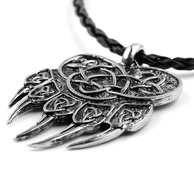 قلادة قلادة على شكل قلادة من Veles تتميز بطباعة مخلب على شكل دببة سلافية على شكل دلاية من ماركة Colar Odin عتيقة رمز مجوهرات نورس فايكنغ
