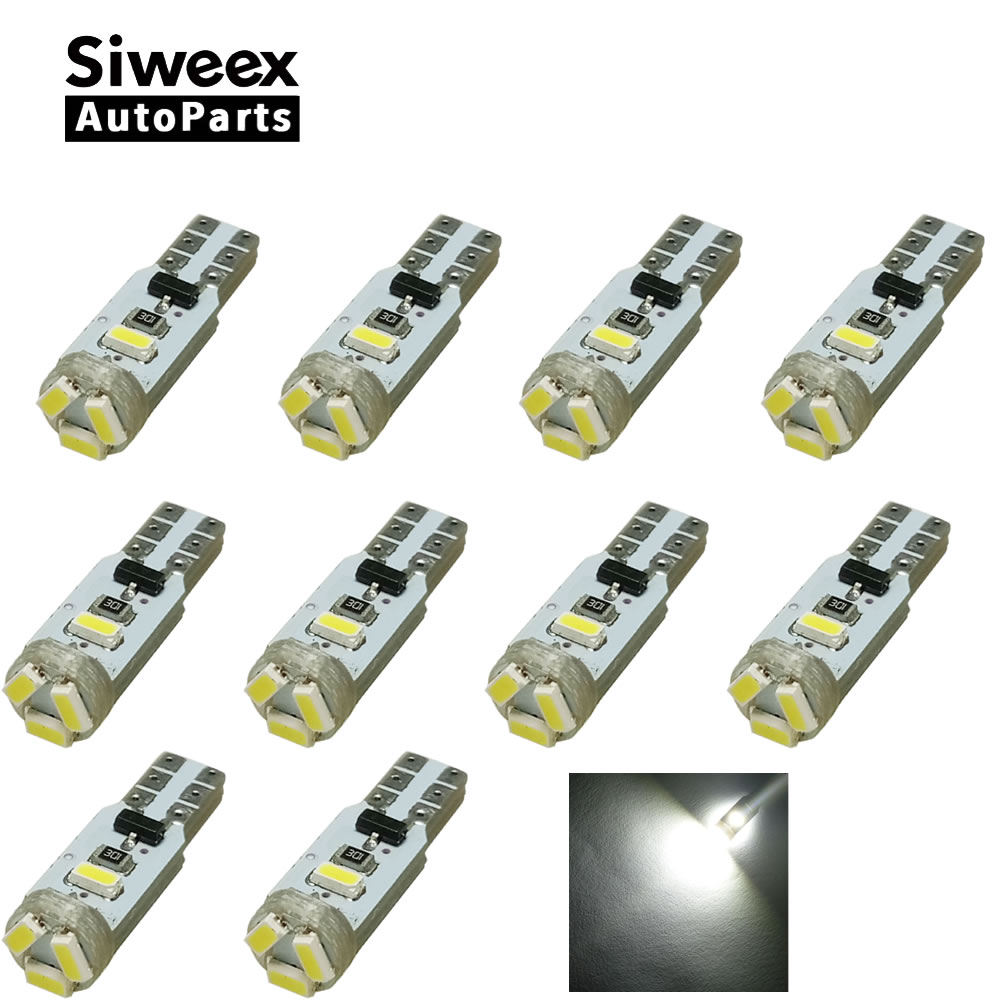 10pcs T5 5 LED 3014 Wedge SMD Car Auto Lamp Dashboard Gauge White Lights Instrument Warning Indicator Signal Bulbs 10pcs high quality t5 w1 2w 3 led 1210 smd car auto interior dashboard gauge lights instrument warning indicator signal bulbs