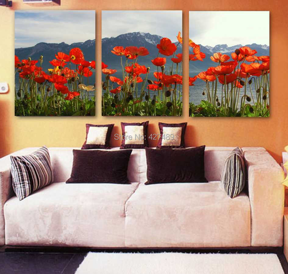 3 Panel modern wall art home decoration frameless oil painting canvas prints pictures P317 abstract red poppy mountain paintings - Ann Taylor's Store store