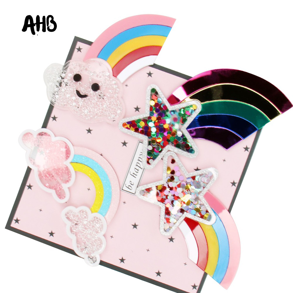 AHB Rainbow Star Liquid Quicksand Cover Two-Clouds Sequin Filling Acrylic Accessories For Phone DIY Hair Bow Cream Patch Cases