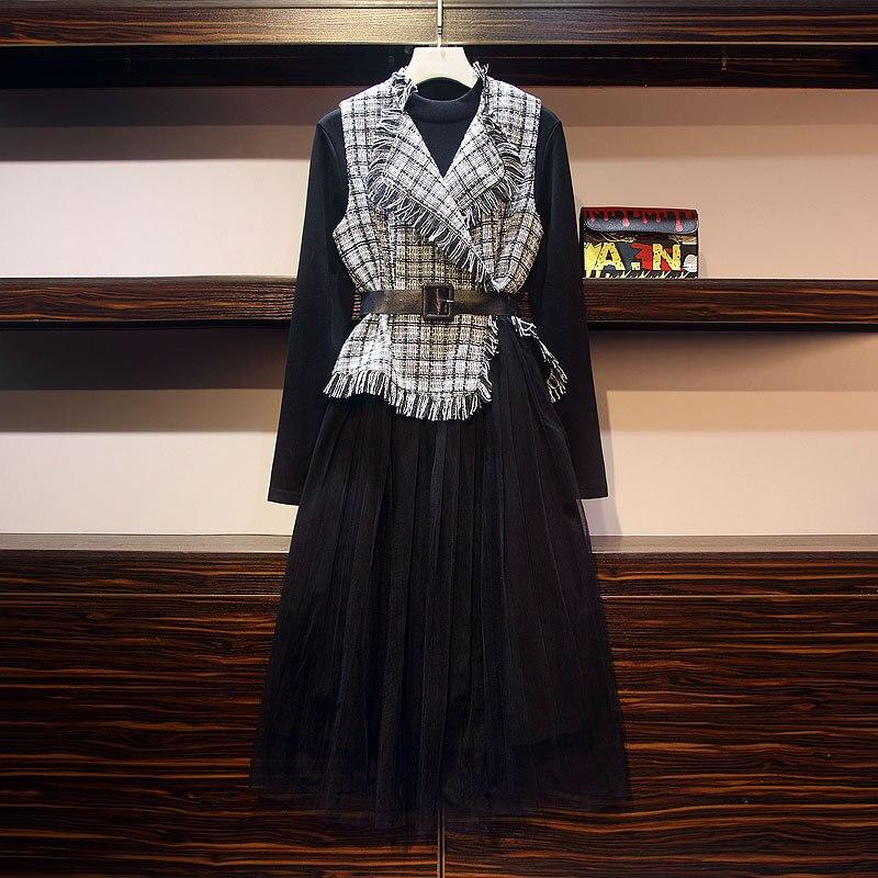 Большой размер, осенне-зимний костюм, платье, Новое Стильное платье, костюм, тонкое и модное платье, два комплекта