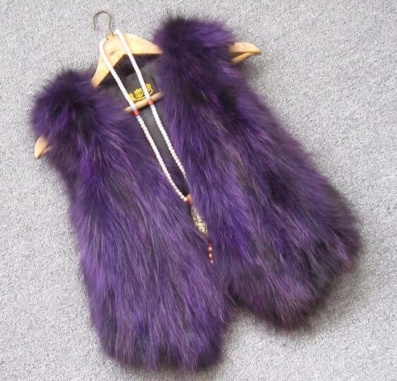 Жилет из натурального меха енота, женский жилет из лисьего меха, короткий дизайн, повседневное пальто из натурального меха, меховая верхняя одежда градиентного цвета