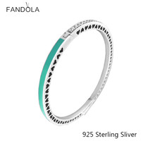 925 Sterling Silver Bangle European Style Radiant Hearts with Bright Mint Enamel Bangle Bracelet For Women Fashion Unique Charms
