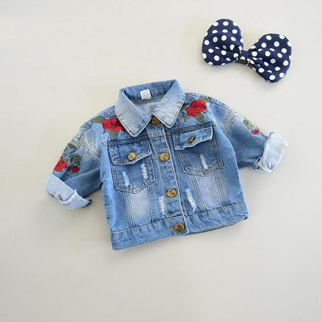 2017 fall winter new arrive 1-5y little baby girls denim coat rose embroidery infant toddler jeans jacket outwear