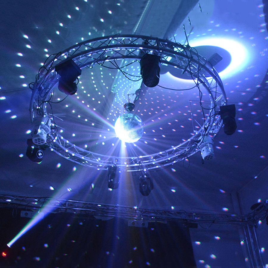 Thrisdar Dia25CM 30CM Hanging Glass Disco Mirror Ball With 2PCS 10W RGB Beam Pinspot Lamp Wedding Party KTV Disco Stage Light