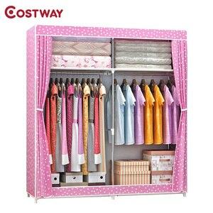 Image 1 - COSTWAY Cloth Wardrobe For clothes Fabric Folding Portable Closet Storage Cabinet Bedroom Home Furniture armario ropero muebles