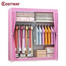 COSTWAY ผ้าตู้เสื้อผ้าสำหรับเสื้อผ้าผ้าพับแบบพกพาตู้เก็บตู้ห้องนอนเฟอร์นิเจอร์ armario ropero muebles