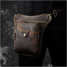 Heißer Verkauf Top-qualität Echte echtem Leder Rindsleder männer Vintage Messenger Hüfttasche Bein Drop Tasche 211-5