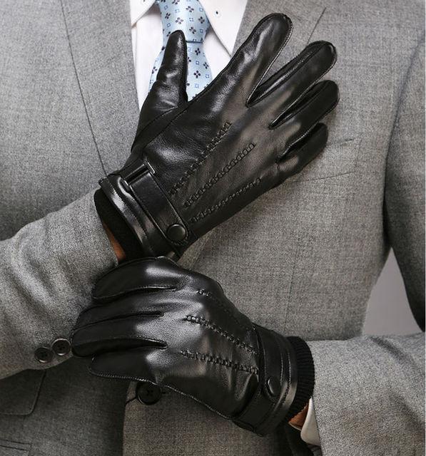 b4934c2e458b € 25.75 25% de DESCUENTO|Hombres Cuero auténtico guante invierno corto  negro Suede guante moda femenino nuevo guante de cuero 1 par/lote en  Guantes ...