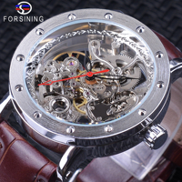 Forsining New Skeleton Waches Male Brown Genuine Leather Band Water resistant Automatic Watches for Men Top Brand Luxury Clock